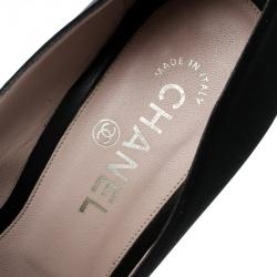 Chanel Black Satin Camellia Embellished Block Heel Pumps Size 39.5