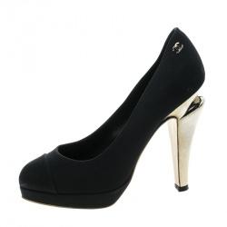 Chanel Black Satin Platfrom Pumps Size 36.5