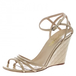 8e105455969f Chanel Beige Patent Leather Ankle Strap Quilted Wedge Open Toe Sandals Size  42