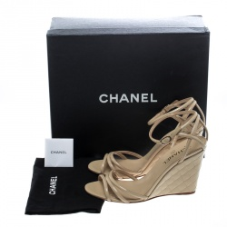 Chanel Beige Patent Leather Ankle Strap Quilted Wedge Open Toe Sandals Size 42