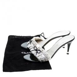 Chanel White Pleated Fabric Fringe Detail Bow Slides Size 41