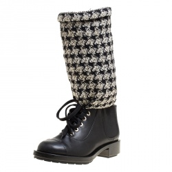 8924ca5fb0 Chanel Black Off White Leather and Tweed Lace Up Chain Detail Boots Size  36.5