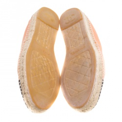 Chanel Peach/Black Leather and Canvas CC Espadrilles Size 39