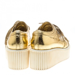Chanel Metallic Gold Distressed Foil Leather Creepers Platform Sneakers Size 39.5