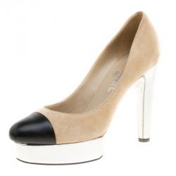 25e7dc25f773 Chanel Beige Suede and Black Leather Cap Toe Platform Pumps Size 38