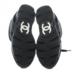 Chanel Black Velvet/Leather and Suede CC Logo Lace Up Sneakers Size 36.5
