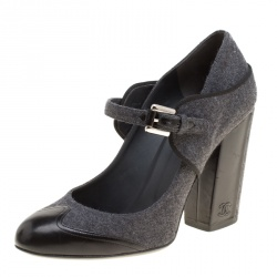 1721e4229aef Chanel Grey Black Wool Blend and Leather Cap Toe Mary Jane Block Heel Pumps  Size