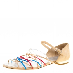 f2a290fe4 Chanel Multicolor Leather and Suede Knot Detail Flat Sandals Size 40