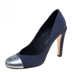 683fea75b31 Chanel Blue Grey Fabric and Leather CC Cap Toe Pumps Size 38