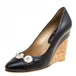 25dcf8e786a8 Chanel Black Leather Camellia Cap Toe Wedge Pumps Size 38.5