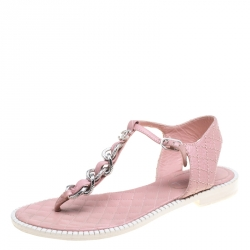 4188204f5f69 Chanel Powder Pink Leather Chain Detail CC Flat Thong Sandals Size 38.5
