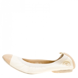 4470f24d6 حذاء فلات باليه شانيل غطاء مقدمة مطاطي جلد لونين مقاس 40