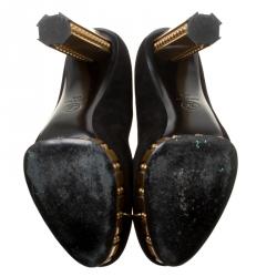 Chanel Black Suede and Gold Platform Pumps Size 40.5