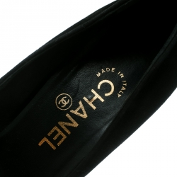 Chanel Black Suede and Black Patent Leather Cap Toe Platform Pumps Size 37