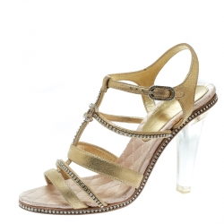 a2171a41647d Chanel Gold CC Crystal Embellished Suede Lucite Heel Strappy Sandals Size  37.5