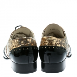 Chanel Metallic Gold And Black Patent Brogue Leather Lace-Up Oxford Size 39.5