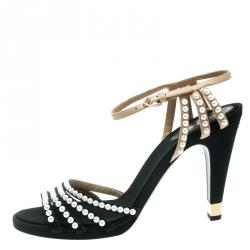 Chanel Black Canvas/Beige Leather Pearl Embellished Ankle Strap Sandals Size 42