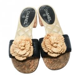 Chanel Black Leather Cork Heel Camellia Slides Size 39