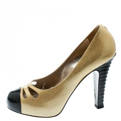 7c3c49dab41e Chanel Metallic Gold Patent Leather Iridescent Cap Toe Platform Pumps Size  37