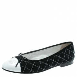 e04ef0cd2dbc Chanel Blue Quilted Canvas With White Leather CC Bow Cap Toe Ballet Flats  Size 39.5