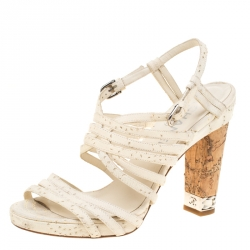 8d0f46d58a3b Buy Chanel White Leather Chain Embellished Cork Heel Strappy Sandals ...