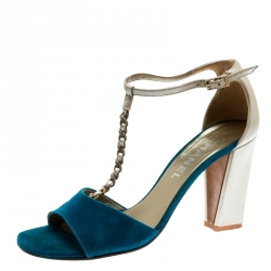 27174fb68c Chanel Beige Leather With Blue Suede T Strap Block Heel Sandals Size 38