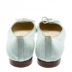 Chanel Light Green Canvas White Cap Toe CC Bow Ballet Flats Size 36.5
