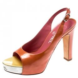 Chanel Orange Patent Leather Metal Platform Open Toe Slingback Sandals Size 35.5