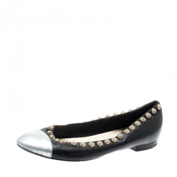 c54df5313 Chanel Black Leather Silver Cap Toe Camellia Studded Ballet Flats Size 39