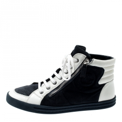 e8faeb6bd Chanel White Leather And Blue Suede CC Double Zip Accent High Top Sneakers  Size 39.5