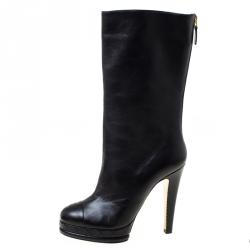 Chanel Black Leather CC Cap Toe Mid Calf Platform Boots Size 38.5