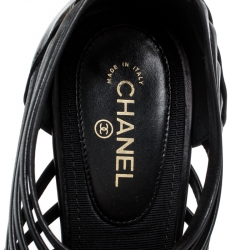 Chanel Black Leather CC Heels Stappy Caged Booties Size 39