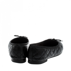 Chanel Black Quilted Leather CC Bow Cap Toe Ballet Flats Size 38