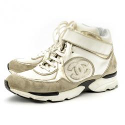 Chanel White & Gold CC High Top Sneakers Size 36.5