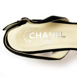 Chanel Black Suede CC Slingback Sandals Size 38.5