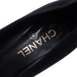 Chanel Black Suede and Patent Leather Cap Toe CC Pumps Size 39.5