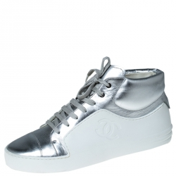 Chanel Metallic Silver Leather And White Rubber Lace Up High Top Sneakers Size 40