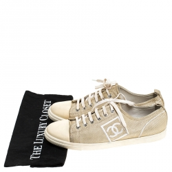 Chanel Gold/Beige Canvas Sneakers Size 40