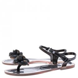 Chanel Black Camellia CC Jelly Flat Sandals Size 39