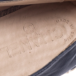Chanel Black Leather CC Cap Toe Espadrilles Loafers Size 42