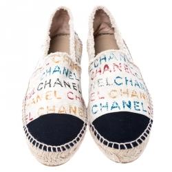Chanel Multicolor Graffiti Logo Canvas Espadrilles Size 39