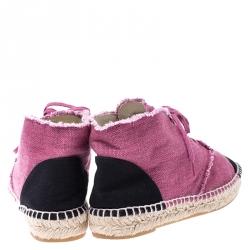 Chanel Pink/Black Canvas Cap Toe CC Espadrille Sneakers Size 39