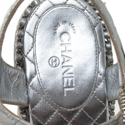Chanel Silver Braided Leather Chain Embellished Quilted Leather Platform Clogs Size 38
