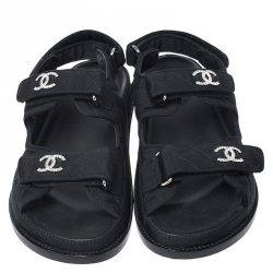 Chanel Black Quilted Fabric CC Velcro Flat Sandals Size 38.5