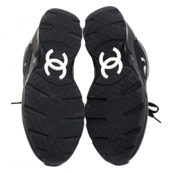 Chanel Black/White Neoprene Fabric and Leather Stitched CC Lace Up Sneakers Size 37.5