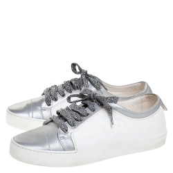 Chanel White/Silver Fabric And Rubber CC Low Top Sneakers Size 37