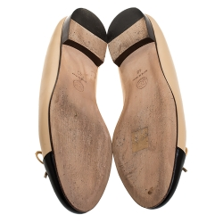 Chanel Beige/Black Leather Bow CC Cap Toe Ballet Flats Size 40