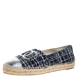 Chanel Blue Tweed And Silver Leather CC Espadrille Flats Size 38