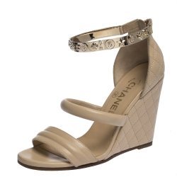 Chanel Beige Quilted Leather Charm Embellished Ankle Cuff Wedge Sandals Size 36