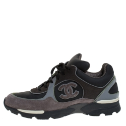 Chanel Grey Canvas and Suede CC Logo Lace Up Sneakers Size 40.5